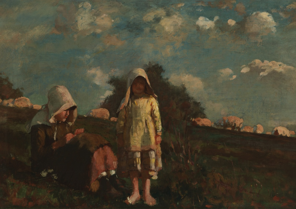 Painting, Two Girls with Sunbonnets In a Field