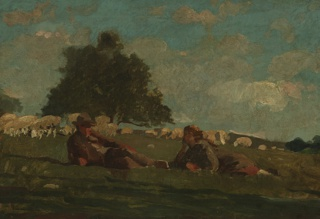 Painting, Boy and Girl in a Field with Sheep