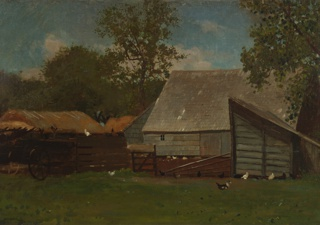 Horizontal view of a barn with a lean-to shed; to left, are two hay-ricks and a farm wagon.  Chickens and ducks on fences and in grass, toward foreground; leafy trees surrounding, in background.