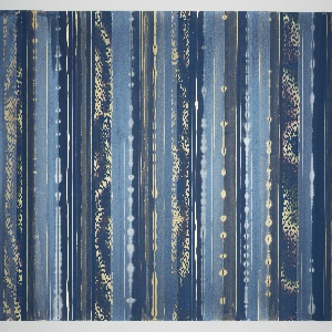 Horizontal stripe design with bands of varying width in metallic colors, some of which are in relief. Wider transparent bands containing mica dust appear periodically. Painted on a deep blue indigo ground.
