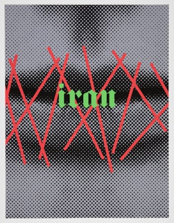 "Detail of a woman's closed mouth, realized in monochrome, defined by grey and black dots. Red slanted bars superimposed over the lips evoke stiches. The word  ""iran"" written in lowercase green gothic lettering at the center of the mouth."