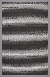 Doublesided Recto: Horizontal lines of white text (with repeating phrases) set against a black background, filling the poster to its margins. The text is crossed out by thick white lines, obscuring the words, which are related to the exhibition. A few select phrases are left unobscured, conveying artist name, time, place, address of exhibition. Verso: Same design, with black text on white background
