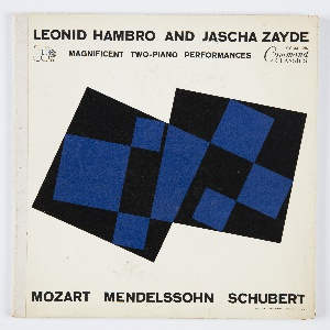 Cover design by Josef Albers for an album published/released by the Command Records label featuring two-piano performances by Leonid Hambro and Jascha Zayde of music by Mozart, Mendelssohn, and Schubert. Design features two large, black overlapping squares, with smaller blue squares and rectangles inside, positioned in the center of the composition against a white background. Printed in black, along the top of the design: LEONID HAMBRO AND JASCHA ZAYDE / MAGNIFICENT TWO-PIANO PERFORMANCES; along the bottom: MOZART MENDELSSOHN SCHUBERT.