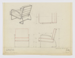 Design for lounge chair with metal tubular frame and upholstered cushions shown in perspective, partial plan, and front and side elevations. At rear, tubular metal bar extends upward on either side to form curved arms with rectangular armrests before angling downward and across again. This frame holds seat and back support frame, which features rectangular stretchers across back. Loose cushions. Inscribed with Deskey No. 6386.