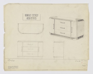 Design for sideboard seen in plan, front and side elevations, and perspective. Oblong object with rounded front corners features stepped recessed base in dark material and top in the same, with central triple stack of drawers and vertical cabinets on either side. The former have horizontal rectangular pulls while the latter have similar vertical pulls. Inscribed with Deskey No. 7351 and K 9/30/33.