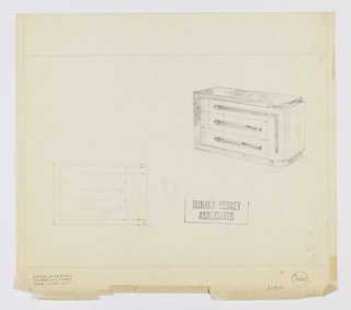 Design for sideboard for the Helena Rubinstein apartment in New York, NY, shown in rough elevation sketch and in perspective. Base, left side, and top in darker reflective burl wood; these wrap slightly deeper volume with narrower stack of three drawers at left, three wider drawers at center, and vertical cabinet at right—all accessed by horizontal rectangular pulls in darker material, with additional vertical strip running down cabinet. Curved front-right corner. Inscribed with Deskey No. 7882 and RUBIN.
