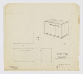 Design for sideboard. At lower left, object shown in plan and front and side elevations, while at upper right a perspective is shown. Asymmetrical, rectilinear object with base, back, left side and top in dark material (possibly walnut or Bakelite) and right side and cabinet doors in lighter material. Left cabinet is wider square while right is narrower rectangular; both accessed by horizontal cylindrical pulls that meet each other at the seam, giving the impression of one continuous element. Inscribed with Deskey No. 7919 and HUMMBL or HUMMEL.