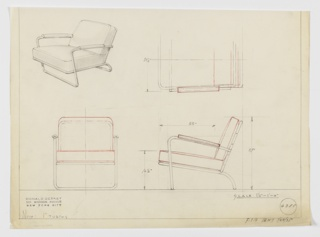 Design for upholstered lounge chair with tubular metal frame shown in perspective, partial plan, and elevations. Low seat supported by curving tubular metal legs at rear that join frame around seat cushion, while upright legs at front curve back- and downward to serve as arms with upholstered armrests (likely leather). Seat and back cushion likely loose. Inscribed with Deskey No. 6385 and possible manufacturer F.S.D.