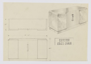 Design for sideboard. At upper right, object shown in perspective: rectilinear object wrapped by secondary planar elements in burl wood on either side and sides of front. At center, pair of cabinet doors with bracket-like vertical pulls. Top surface possibly in different material. Also shown in plan and front elevation.