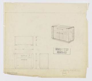 Design for sideboard seen in plan, front and side elevations, and perspective. Rectangular object with recessed base in darker material, possibly striated wood, paired cabinet below and drawer above in lighter striated wood—all accessed by horizontal rectangular pulls—with rectangular, stepped sides in contrasting material, likely a burled wood. Top is rectangular in reflective material. Inscribed with Deskey No. 7684.