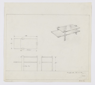 Design for low, rectangular occasional table seen in plan, front and side elevations, and perspective. At upper right, perspective describes rectangular tabletop supported by three wide, flat legs terminating with inward curves at top. These legs also support a shelf that extends leftward past the tabletop footprint. At center left, plan describes object footprint while below, at left and center, elevations describe relative width of top and shelf. Margins ruled in graphite. Inscribed with Deskey No. 9031 and illegible note in lower right margin.