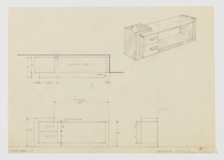 Cropped design for vanity table. At upper right, object shown in perspective: dark reflective material forms rectangular frame with open right three quarters of top surface. Just below rectangular top at left, a plate glass sheet with rounded front-right corner is set. Below this, on base, stack of two drawers of diminishing depth jut out over base and are accessed by asymmetrically-placed rectangular pulls. Object also shown in plan and front and side elevations.