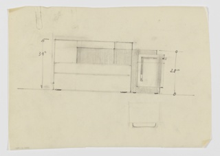Design for sideboard. At center, rough elevation shows overall rectilinear object with rounded front-right corner. At left, taller volume consists of shelf divisions of various dimensions. This volume is intersected by secondary one in darker material with curved edge, which forms L-shape and features a cabinet and drawer at right, accessible by L-shaped pulls that seem to form one element  that wraps right side. Inscribed dimensions.
