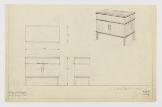 Design for a small dining room cabinet or server seen in plan, front and side elevations, and perspective. Small cabinet in two tones wood.  Dark wood/lacquer (?) top and bands under upper edge, across upper third of cabinet and above legs. Body in lighter wood.  Lower cabinet in two sections with doors swinging open from center. Measurements on two left drawings.