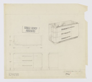 Design for sideboard. At upper right, perspective shows rectilinear object with rounded front-left corner. Base, left side, and top in dark, reflective burl wood with triple stack of drawers at left and cabinet door at right in lighter material; all accessed by layered, horizontal, rectangular pulls. Also shown in plan and front and side elevations. Inscribed with Deskey No. 7920.