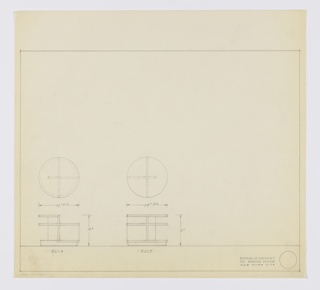 Two designs for low, round occasional tables. At left, plan and elevation for 18-inch tall table with 24-inch diameter tabletop. Circular base supports right-angled Z-shaped frame that serves as both demilune tabletop and support for circular shelf at approximately two-thirds height. Assigned Deskey No. 8216. At center, plan and elevation for 18-inch tall table with 24-inch diameter tabletop. This version features circular base that, in plan, is bisected by vertical support running object dimeter as well as a second support, at perpendicular angle, that extends two-thirds across width. These supports hold circular tabletop as well as circular shelf at two-thirds height. Assigned Deskey No. 8217. Margins ruled in graphite.