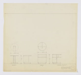 Two designs for low, round end tables with storage. At left, plan and two elevations for 19-in tall table with 18-inch diameter tabletop. Object has circular base with vertical, rectangular support that extends about two-thirds object width and has open space for storage. Inscribed with Deskey No. 8218. At center, plan and two elevations for 22-inch tall table with 20-inch diameter tabletop. Right-most elevation indicates table has circular base onto which L-shaped vertical support extends upward to support circular tabletop as well as second shelf at two-thirds object height. Additional vertical support plan at perpendicular angle extends to two-thirds object diameter in void between shelf and tabletop, and just one-half of diameter below. Inscribed with Deskey No. 8219. Margins ruled in graphite.