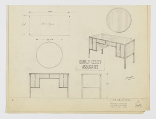 Design for desk or vanity table with mirror. At upper right, objects shown in perspective: circular mirror with trim hangs above desk or vanity table with curved front corners. Reflective tabletop, possibly in Bakelite or lacquer, supported by tapered, square-plan legs with contrast trim at centers. Shallow central drawer in lighter material flanked by deeper drawers on either side; all feature strip of dark trim at center and are accessed by vertical arched pulls. At upper left, desk/table seen in plan; below, table and mirror in front elevation; at lower right, table in side elevation. Inscribed with Deskey No. 7647.