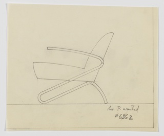 Design for upholstered lounge chair shown in side elevation. Tubular metal frame snakes up from rear, curving at front, and finally again where affixed to backrest, terminating in armrests. Seat cushion appears to float, while backrest leans slightly backward.