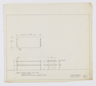 Design for low occasional table in bleached white oak with tuflex top seen in plan, front, and side elevations. At center left, plan describes object footprint whiel below left, front elevation provides additional specs and shows shelf and tabletop supported by perpendicular planes on either side that extend slightly above top surface. Side profile at lower center shows tabletop and shelf are deeper than supports. Margins ruled in graphite. Object dimensions and materials are indicated in lower left margin. Inscribed with Deskey No. 8610.