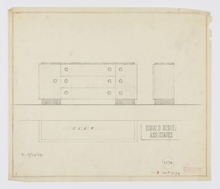 Design for sideboard seen in front and side elevations and plan. On either side, rectangular feet in dark material support object, which features triple-stack of drawers with circular pulls on either side flanked by cabinet with single pull at left and narrower stack of three drawers at right, each with its own pull. Pulls encircled in recessed ring. Inscribed with Deskey No. 7574 and K. 9/30/33, and reference to #7134.