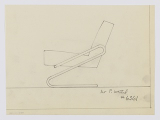 Design for lounge chair shown in side elevation. Tubular metal frame in presumably one piece begins on either side of cushion toward front, extends back- and upward at an angle before curving back down and, finally, again rearward to support cantilevered seat. Inscribed with Deskey No. 6361.
