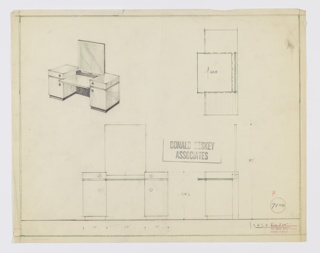 Design for vanity. At upper left, perspective shows rectilinear object with square mirror set into dark wood base before which glass worksurface extends, supported on either side by pedestals in lighter wood. These feature single drawers above cabinets, all accessed by circular pulls. Recessed base in dark material. Also shown in plan and front and side elevations. Inscribed with Deskey No. 7108.