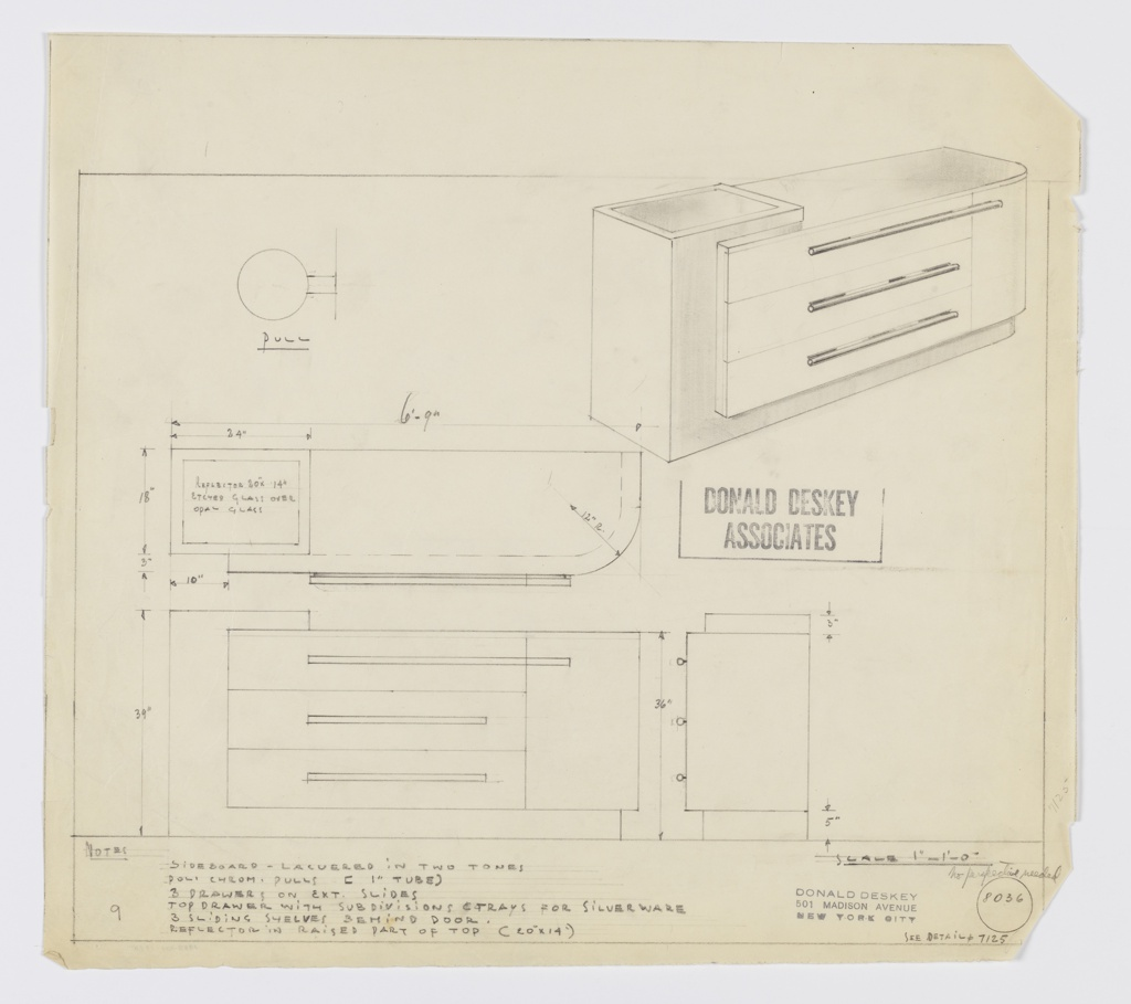 -1950 Design for sideboard in two-tone lacquer. At upper right, perspective shows rectangular object with stepped top surface inset at left with reflector in etched glass over opal glass. Left side and base in darker lacquer while lower section of top, triple stack of drawers, and cabinet at right in lighter lacquer. Top drawer featured divisions for silverware while cabinet would have three shelves within. Drawers and cabinet accessed by long, horizontal, cylindrical pulls in polished chromium. Inscribed with Deskey No. 8036 and reference to Deskey No. 7125.