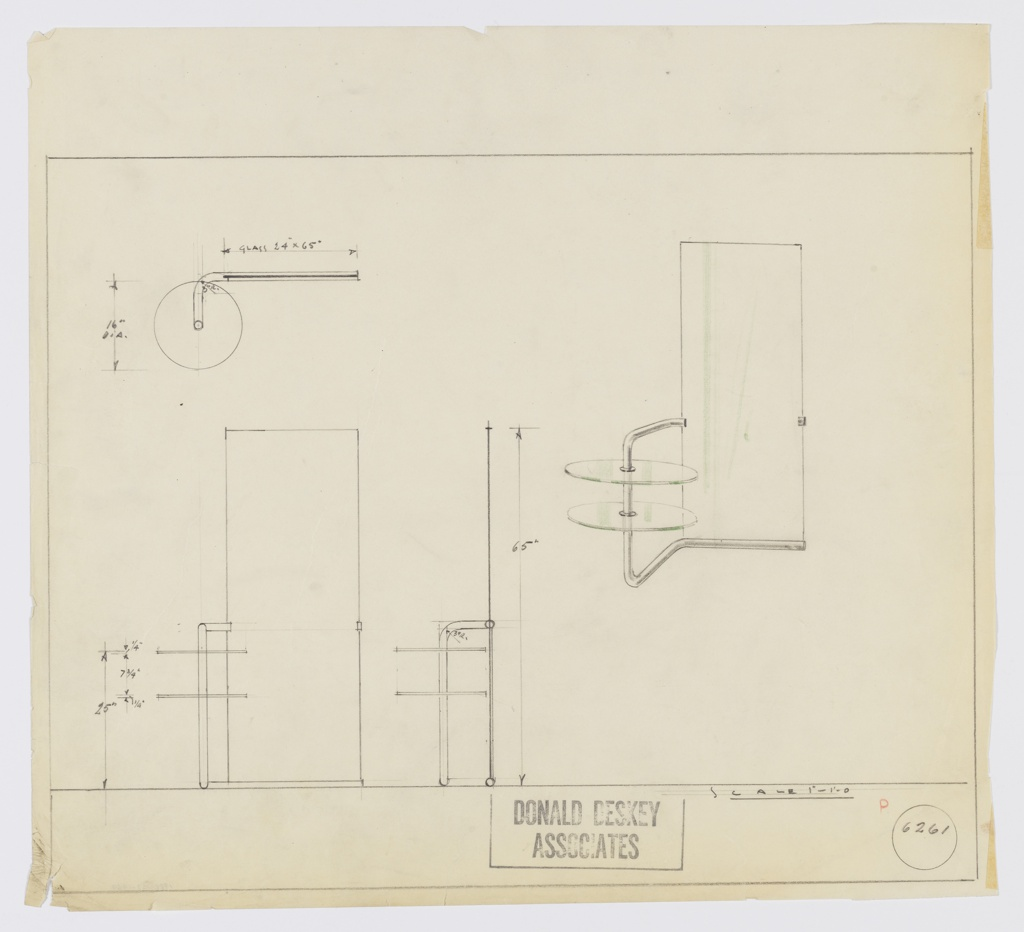 Drawing Design For Glass And Metal Vanity Mirror Ca 1932 Objects Collection Of Cooper Hewitt Smithsonian Design Museum