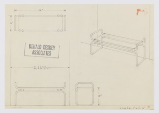 Design for low vanity stand and large wall mirror. At upper right, perspective shows tubular metal frame in two, bracket-shaped parts, one inverted below and a smaller one above. These separated by spherical metal balls. Top tray-like frame holds rectangular glass panel. Object stands in front of wide mirror that extends to floor level. Also shown in plan and front and side elevations.