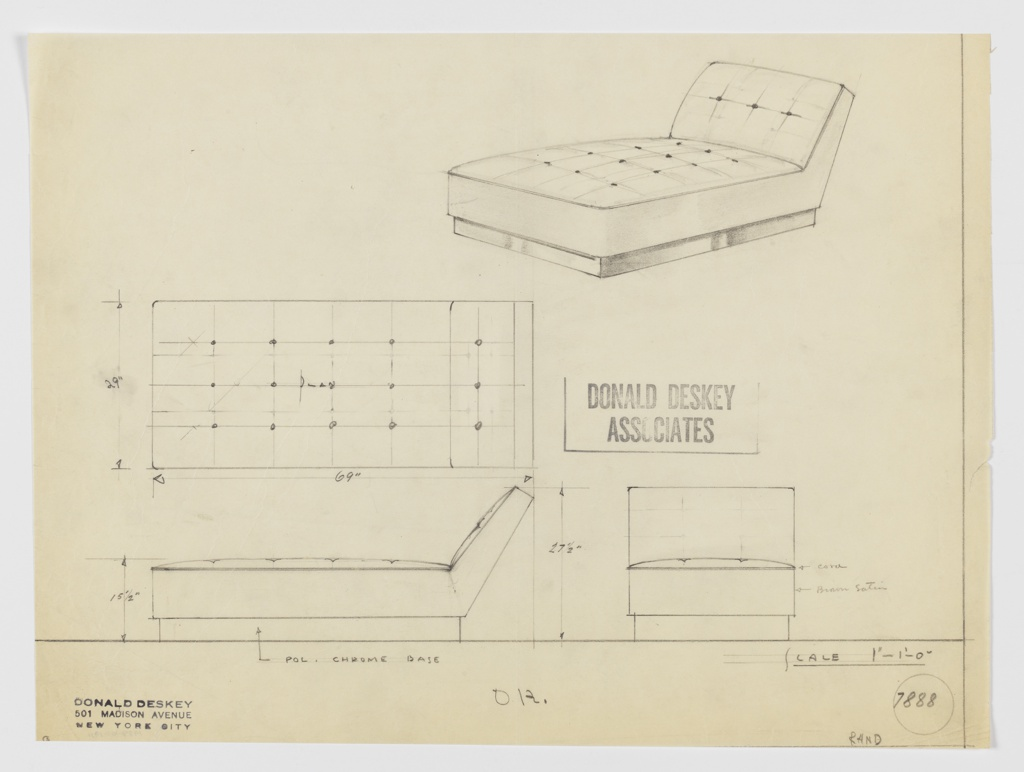 Deign for upholstered daybed for the George C. and Eleanor Hutton Rand apartment. At upper right, perspective shows rectangular base in polished chromium supporting rectangular, tufted seat cushion in brown satin with cord piping; at rear, this angles up- and backward to form backrest. Also shown in plan and side and front elevations. Inscribed with Deskey No. 7888.