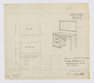 Design for vanity with mirror. At upper right, objects shown in perspective: rectilinear object with top, left side, and base in pearwood and drawer fronts and right side in white lacquer. Triple stack of drawers of diminishing depth at left, accessibly by layered horizontal pulls. Top drawer pull extends rightward to meet that of right-side drawer, which has rounded right corner. Rectangular mirror above bordered above, below, and at left in pearwood. At left, object shown in plan; lower left, in front elevation with mirror; at lower right, side elevation without mirror. Inscribed with Deskey No. 7451 and BL-S-W.\