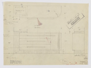 Design for sideboard for the George C. and Eleanor Hutton Rand apartment in New York, NY. Object shown in plan and front and side elevations. L-shaped base in Thuya burl wood runs across bottom, left side, and left side of top and is inset with three drawers and cabinet in Bakelite or lacquer with horizontal brushed chromium pulls. Top of Thuya at left inset with rectangular reflector. Left side of object has square corner while right is curved. Top drawer pull extends rightward to meet cabinet pull. Inscribed with Deskey No. 7125.