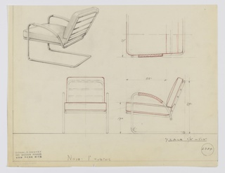 Design for cantilevered lounge chair with upholstery shown in perspective, partial plan, and front and side elevations. Bracket-like cantilevered tubular steel frame extends object depth to support seat and backrest frame; at front, legs extend upward before curving back to form armrests, which are wrapped in secondary material—likely leather. Upholstered seat and back likely loose cushions and are indicated in red color pencil. Inscribed with Deskey No. 6384.