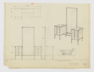 Design for vanity with tall mirror. At upper right, object shown in perspective: tall rectangular mirror trimmed in dark material flanked by identical drawer pedestals with three drawers of diminishing depths. Fronts and sides in light burl wood, both supported by four tapered, square-plan legs with contrast trim at centers; all feature strip of dark trim at center and are accessed by vertical arched pulls. Tops and central vanity surface in darker material. Also shown in plan and front and side elevations. Inscribed with Deskey No. 7648.