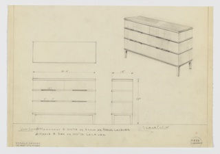 Design for sideboard in either mahogany and white, black or mahogany lacquer or maple and red or white lacquer. Object shown in plan, front and side elevations, and, at upper right, perspective. Four square-plan tapered legs in darker material support two wide drawers with thin pulls above or below in seams and two side-by-side drawers with thin pulls in lower seam. Between drawers, above base, and below top, curved streamline trim in darker material; drawer fronts and sides in lighter material. Top is rectangular in darker material. Inscribed with Deskey No 7823 SIDEBOARD.