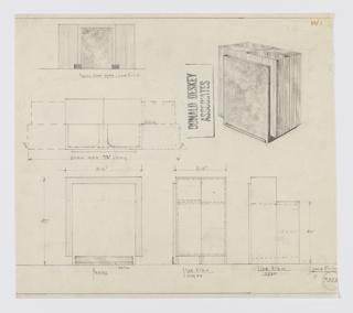 Design for expanding liquor cabinet for manufacture by Widdicomb Furniture Company. At upper right, object seen in perspective: rectilinear object with diamond-cut wood pattern on top surface. Main volume in four vertical, rectangular parts set into planar section of burled wood which features metal trim along floorline at front. Two rear parts swing out by hinge when bar in open position; interior would features shelves and workspace of lesser height than overall object. Also shown in open-position elevation, plan, and additional elevations below. Inscribed with Deskey No. 7325.