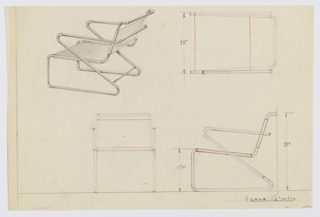 Four drawings of metal-frame armchair:  upper left, in perspective; upper right, in plan; lower left, from front; lower right, in profile.  Chair with circular tubing as frame.  Upper support for  back of chair comes down to create support for seat, turning into the vertical front leg which runs back to create bottom support which then slants upward towards front of chair and curves around creating arm rest which meet at rear of chair serving as another back support.  Both seat and back layer of material, indicated in red crayon, which is stapled/sewn around metal tubing.  Measurements on two right drawings.  Two borders in graphite, along left and lower edges.