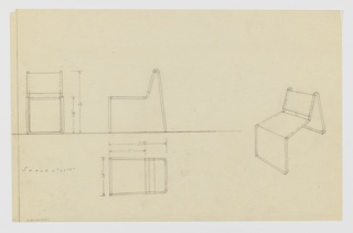 Four drawings for chair: at left edge from front, center left, in profile; lower left, in plan; at right, in perspective. Sling-back chair with tubular metal frame with U-shaped legs in front that move upward to form frame of seat which then slant back to support back and curve down behind to create U-shaped back legs.  Measurements on two left drawings. Ruled border on left side only.