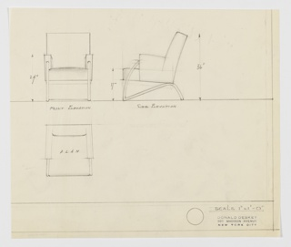 Three views of armchair: upper left, chair from front; upper center, armchair in profile; lower left, armchair in plan from above. Chair has upholstered back, side-arms and seat; cushions lightly shaded to suggest volume; metal square-tube frame running from front of upholstered arm, in curve down to ground and in straight diagonal up to seat-back and short curve down to ground forming back leg; front support runs horizontally across floor from leg to leg; back support runs across back of chair at bottom of cushion from back left to right back legs.  Ruled border along left and lower edges, creating margin. Measurements inscribed on upper two drawings.