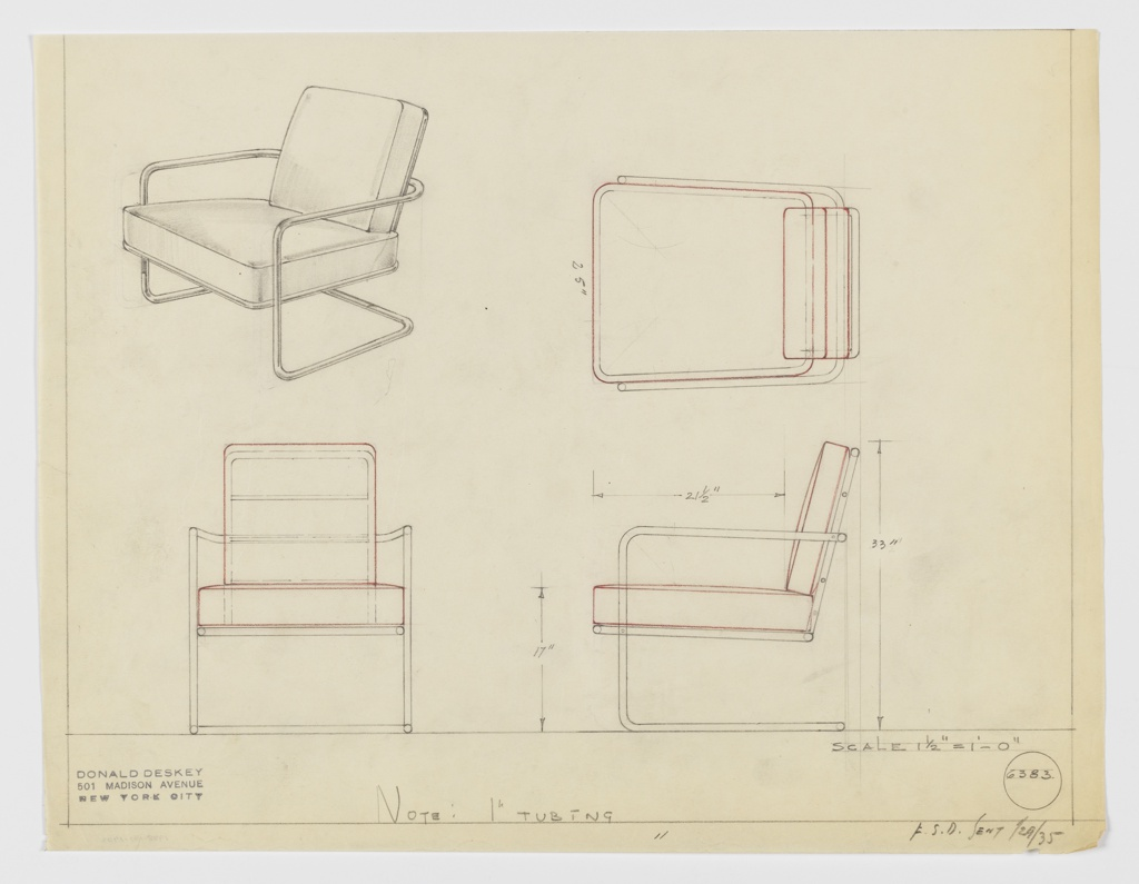"""Design for cantilevered armchair seen in perspective, plan, and elevations. Tubular metal frame forms open rectangular support on either side with rear stretcher to stabilizer cantilevered frame with upholstered seat. Frame extends upward and curves back to support upholstered backrest; cushions likely loose (indicated by red pencil). Inscribed with Deskey No. 6383 and possible manufacturer """"F.S.D.""""."""