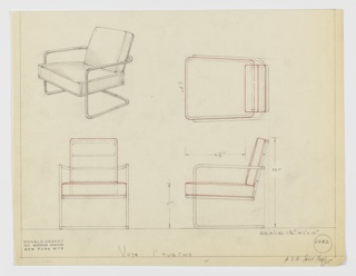 "Design for cantilevered armchair seen in perspective, plan, and elevations. Tubular metal frame forms open rectangular support on either side with rear stretcher to stabilizer cantilevered frame with upholstered seat. Frame extends upward and curves back to support upholstered backrest; cushions likely loose (indicated by red pencil). Inscribed with Deskey No. 6383 and possible manufacturer ""F.S.D.""."