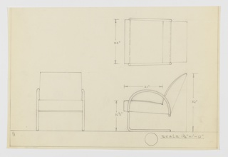 Design for cantilevered, upholstered armchair seen in plan and front and side elevations. Tubular metal legs connect at rear and extend forward before rising up as front legs and curving backward as armrests and connecting with rear lower corner of seat for support. Upholstered seat and canted back.