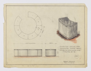 Suggested Design for Segmental Coffee Tables, Lounge 02 & Mezzanine 204, Theatre No. 10—possibly for Radio City Music Hall, New York, NY—seen in plan, group and individual elevations, and perspective. At upper left, plan shows broken-circle arrangement of seven curved coffee tables. Below, elevations provide additional dimensions and indicate objects set on wheels. Above, at right, perspective in graphite and orange color pencil further describes curved individual coffee table with horizontal accents at top and bottom, resting on wheels or stubby feet. Margins ruled in graphite. Inscribed with Deskey No. 7999.