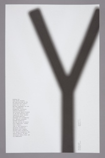 "Recto: Large white letter ""X"", out of focus, set against a deep black background.The X fills most of the height of the poster, stopping just below the upper margin, and takes up three-quarters of the width, emerging from the right margin. Information about the exhibition appears in small white text at the lower left.