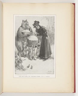 Article clipping from Century Illustrated Magazine. Center, group of bunnies holding platter with giant Christmas budding. Left, large brown bear holding bowl filled with bread pudding, eating. Right, woman in long black coat and black hat, bends over with icing knife, smiling. Lower left, two bunnies, one licking spoon.