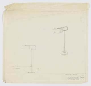 Design for floor lamp in chrome with maple base. At right, perspective describes disk-like foot from which telescopes a circular rod, which terminates just beyond a horizontal ribbon that extends rearward before angling upward and curving forward; from this cantilevered arm suspends a squat cylindrical shade held in place by a circular finial. Below, side elevation with material notations. Margins ruled in graphite. Inscribed with Deskey No. 3013.