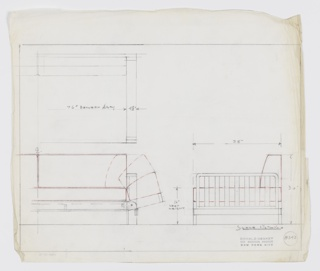 Design for sofabed. At upper right, partial plan gives dimensions of armrest and seat, while below at left, partial front elevation shows upholstery in red and describes mechanism by which either the back cushion folds down, or an upholstered armrest folds down (diagram inconclusive). At lower right, side elevation shows red upholstery again, provides dimensions, and indicates slatted armrest. Margins ruled in graphite. Inscribed with Deskey No. 8343.