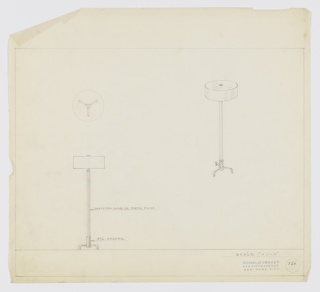 Design for floor lamp. At lower left, front elevation for lamp with tubing in leather, lacquer, or metal finish on base of polished chrome. Base consists of central cylinder elevated by three feet in chrome tubing. Tubing extends upward to lamp neck, squat cylindrical shade, and circular finial. Above, at left, plan shows relative depth of object components and arrangement of feet. At right, a perspective view. Margins ruled in graphite. Inscribed with Deskey No. 366.