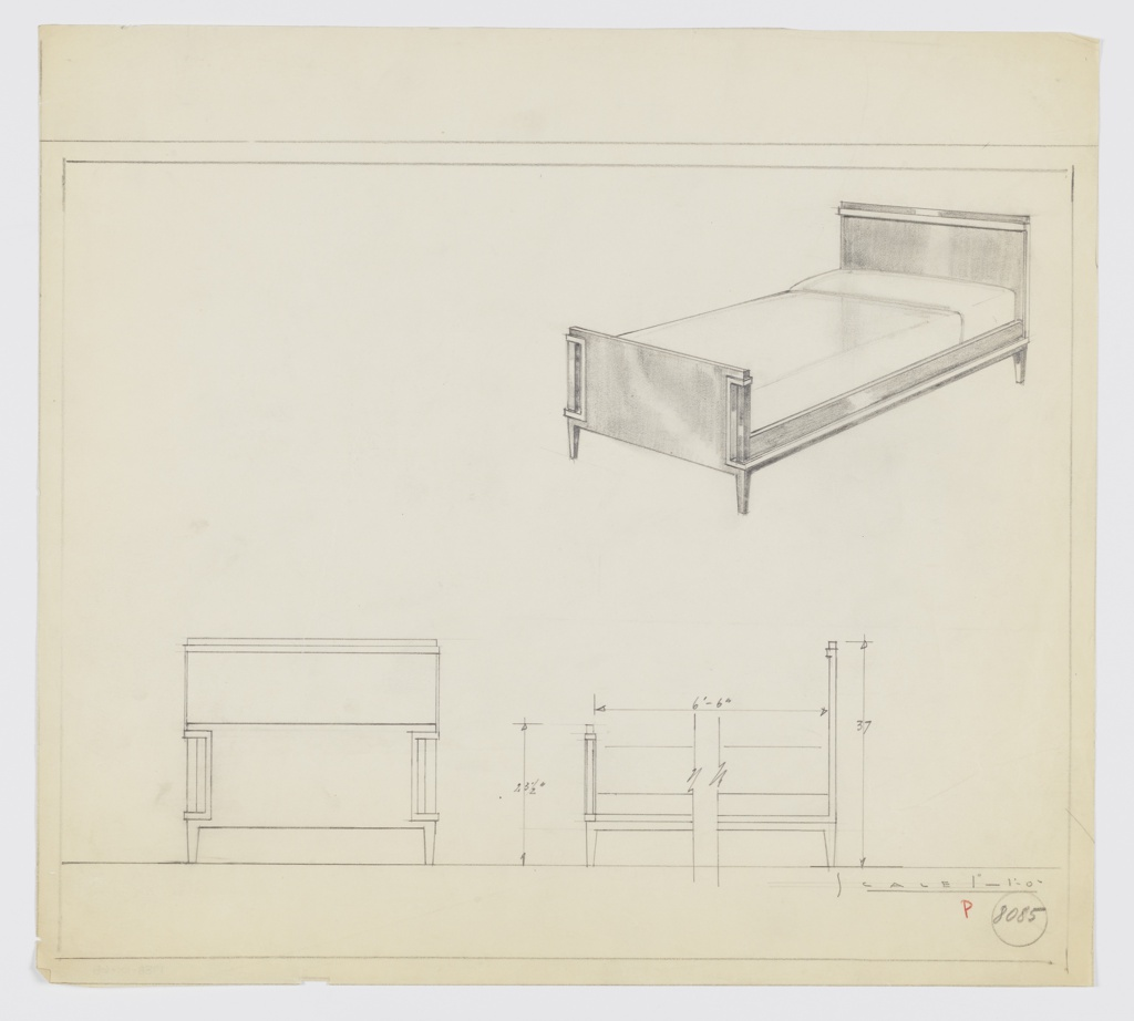 Design for bed. At upper right, perspective shows bedframe with rectangular headboard comprised of a plane nested in front of a secondary plane with protruding lip in another material and topped by an additional piece of trim running width.  Secondary plane extends downward and forward, bordering lower edge of rectilinear side rail and indenting before angling upward and out again to create an open-bracket shaped element on sides of footboard. Tapered, square plan feet. Below, at left and right, front elevation and broken side elevation provide dimensions. Margins ruled in graphite. Inscribed with Deskey No. 8085.